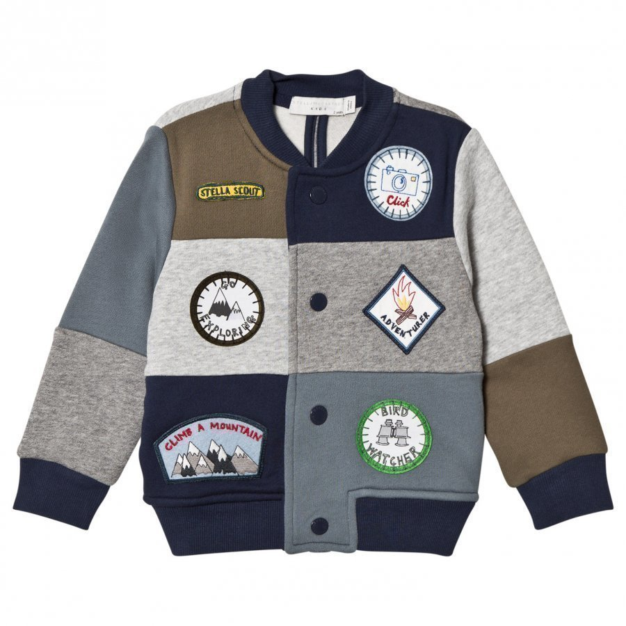 Stella Mccartney Kids Multi Patch Badge Sweat Bomber Jacket Bomber Takki