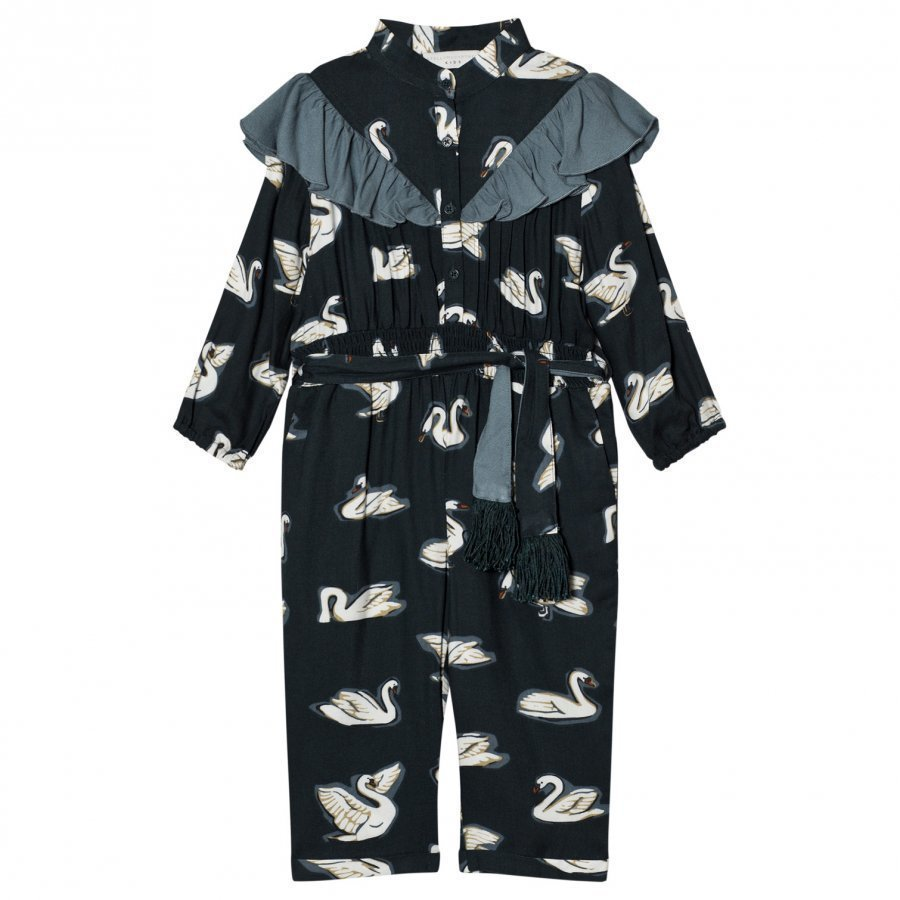 Stella Mccartney Kids Navy Ariel Swan Print Frill Jumpsuit Potkupuku