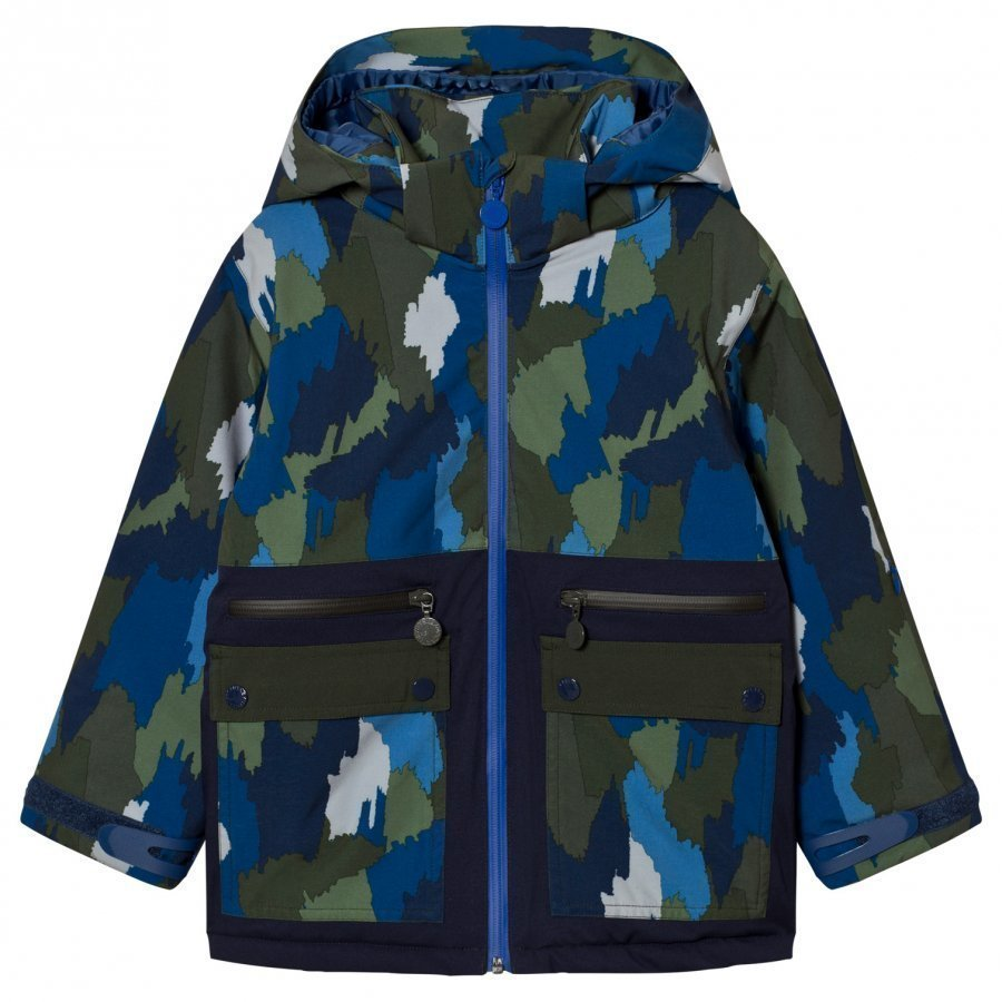 Stella Mccartney Kids Navy Camo Ski Jacket Toppatakki