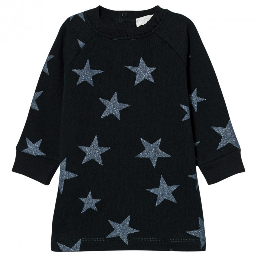 Stella Mccartney Kids Navy Glitter Stars Print Leona Dress Mekko