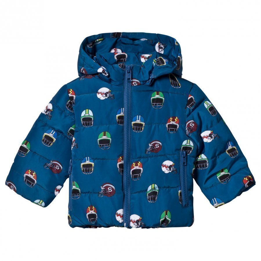 Stella Mccartney Kids Navy Helmet Print Hubert Puffer Coat Toppatakki