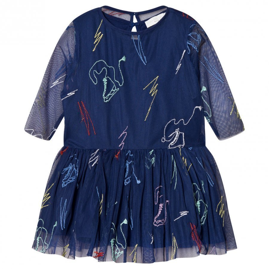 Stella Mccartney Kids Navy Luna Embroidered Skates Tulle Dress Juhlamekko