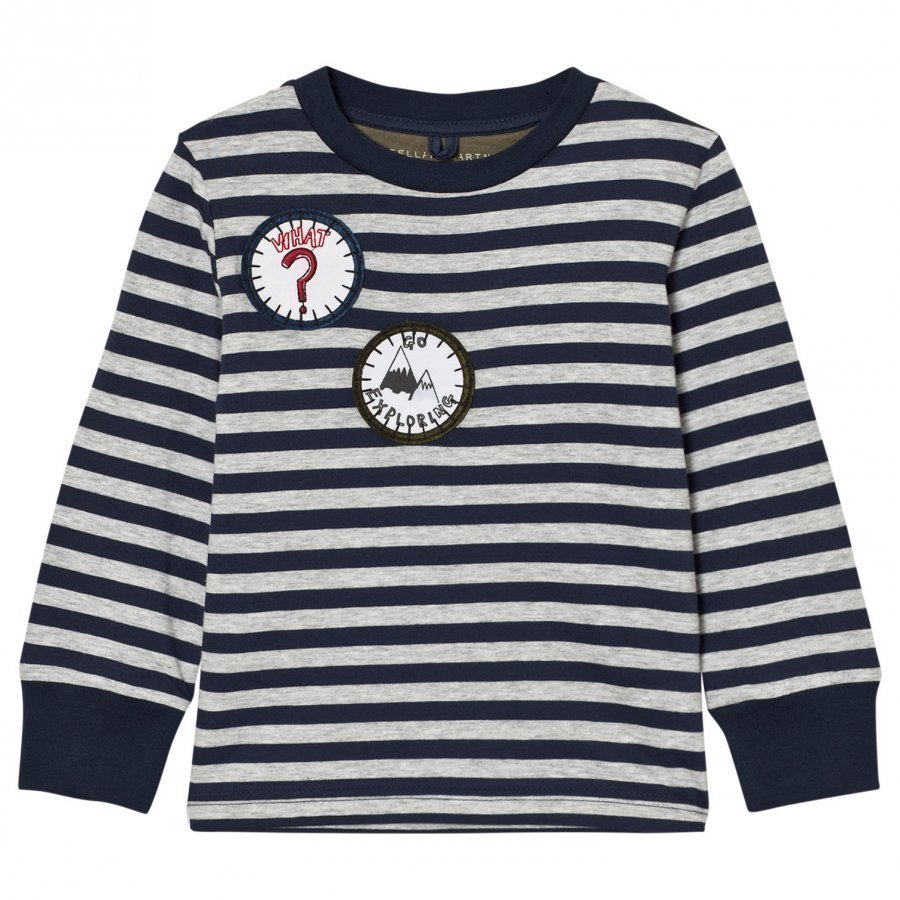 Stella Mccartney Kids Navy White Badge Detail Crumble Tee T-Paita