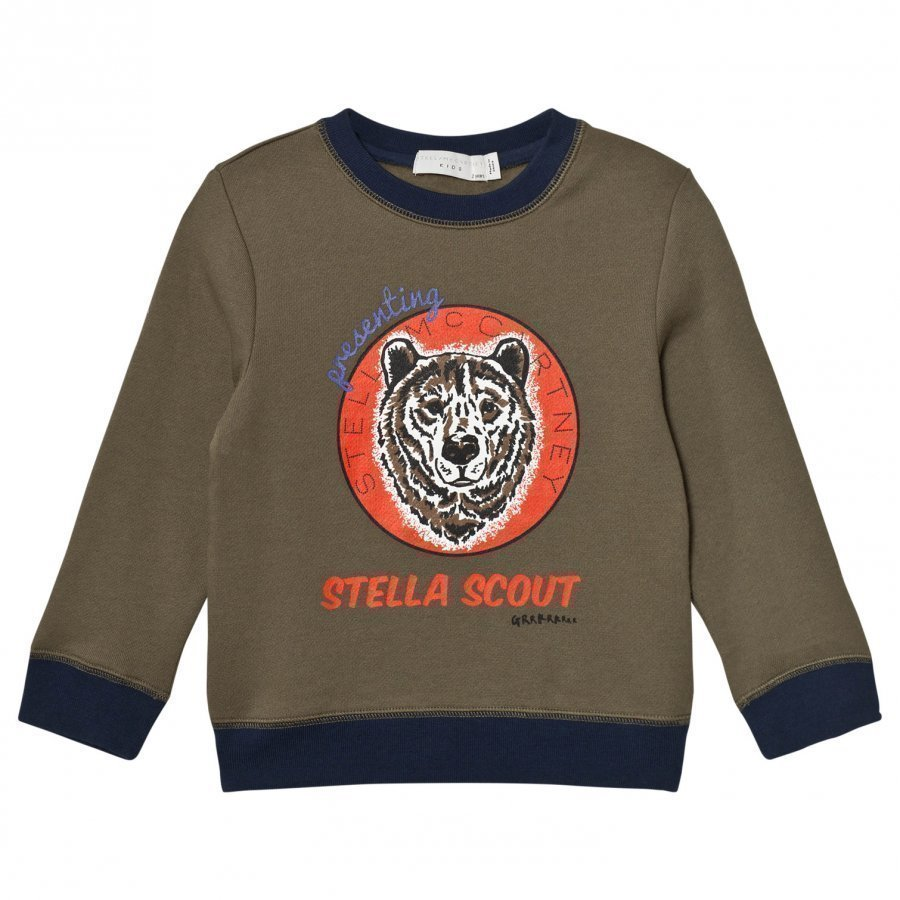 Stella Mccartney Kids Olive Bear Print Sweater Oloasun Paita