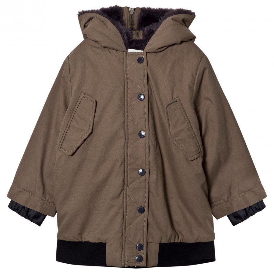Stella Mccartney Kids Olive Dakota Faux Fur Jacket Parkatakki