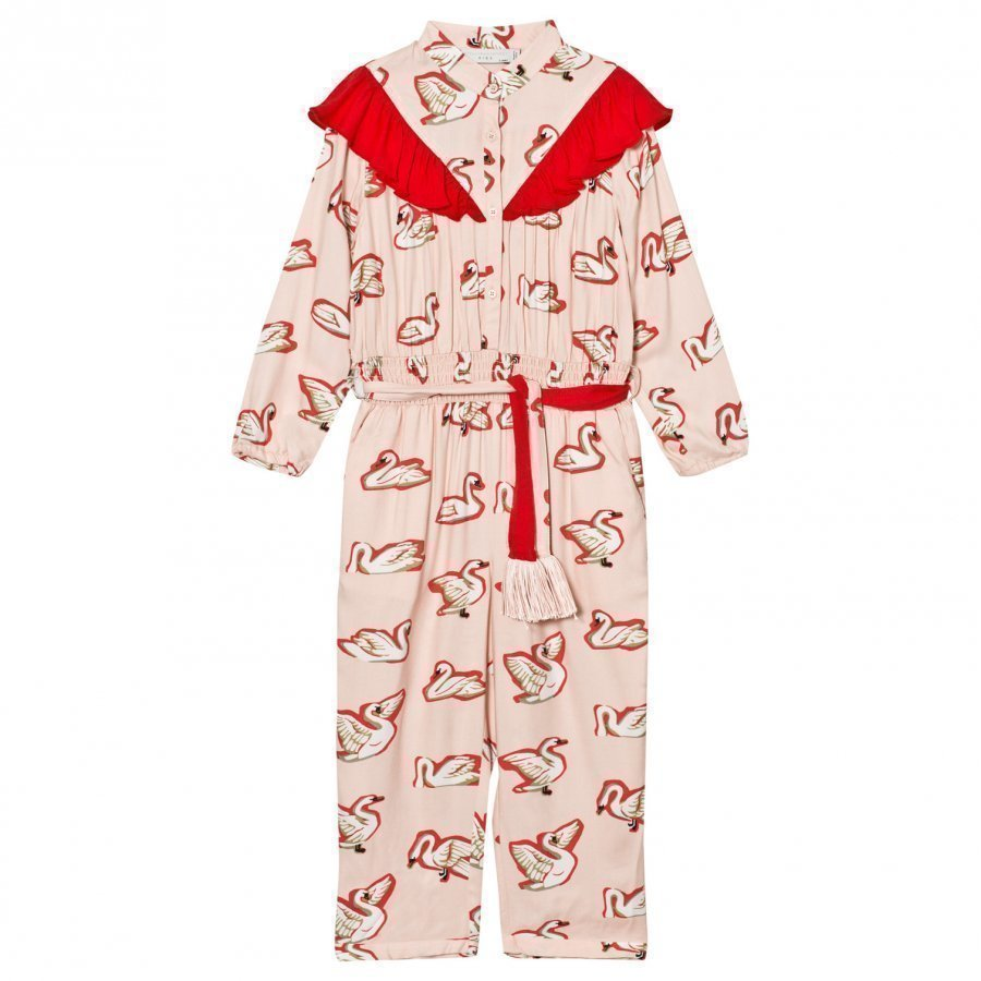 Stella Mccartney Kids Pink Ariel Swan Print Frill Jumpsuit Potkupuku