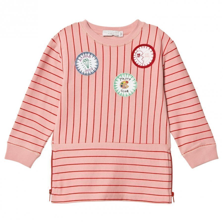 Stella Mccartney Kids Pink Badge Stripe Dress Mekko