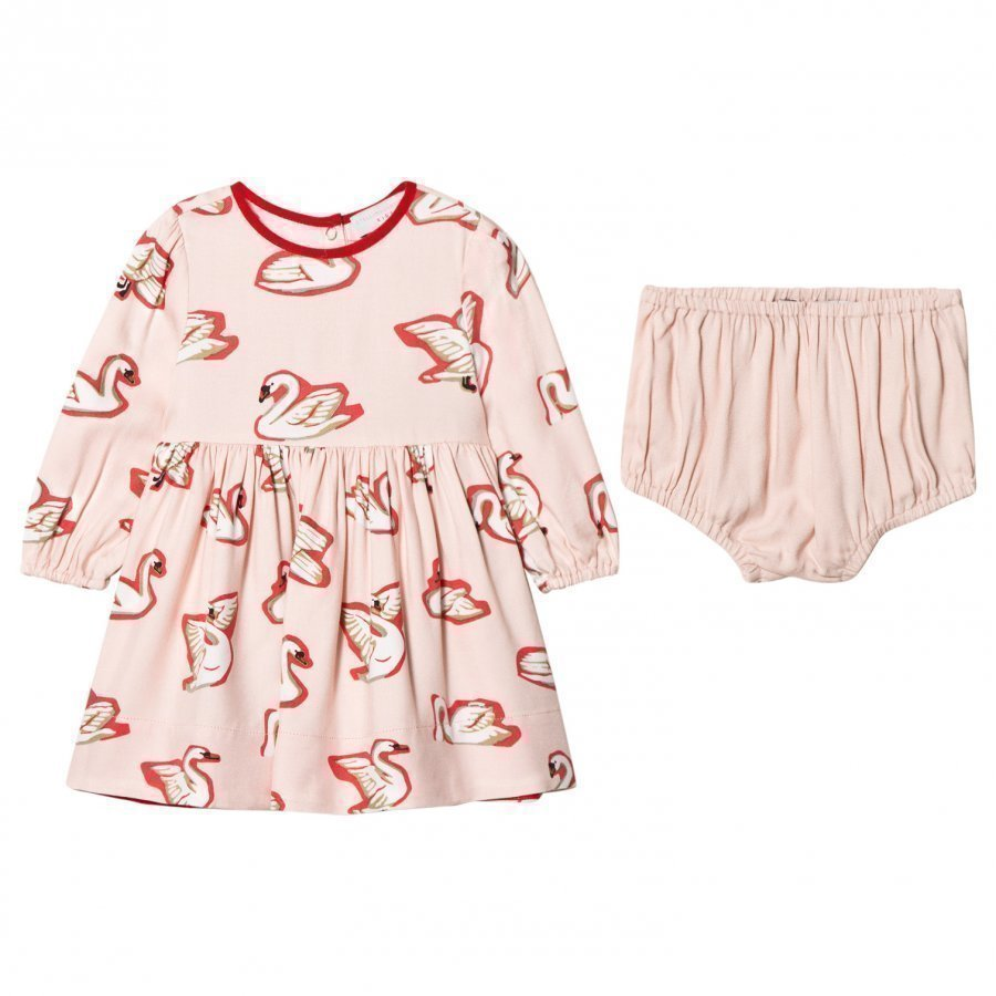 Stella Mccartney Kids Pink Fleur Swan Body Dress Mekko