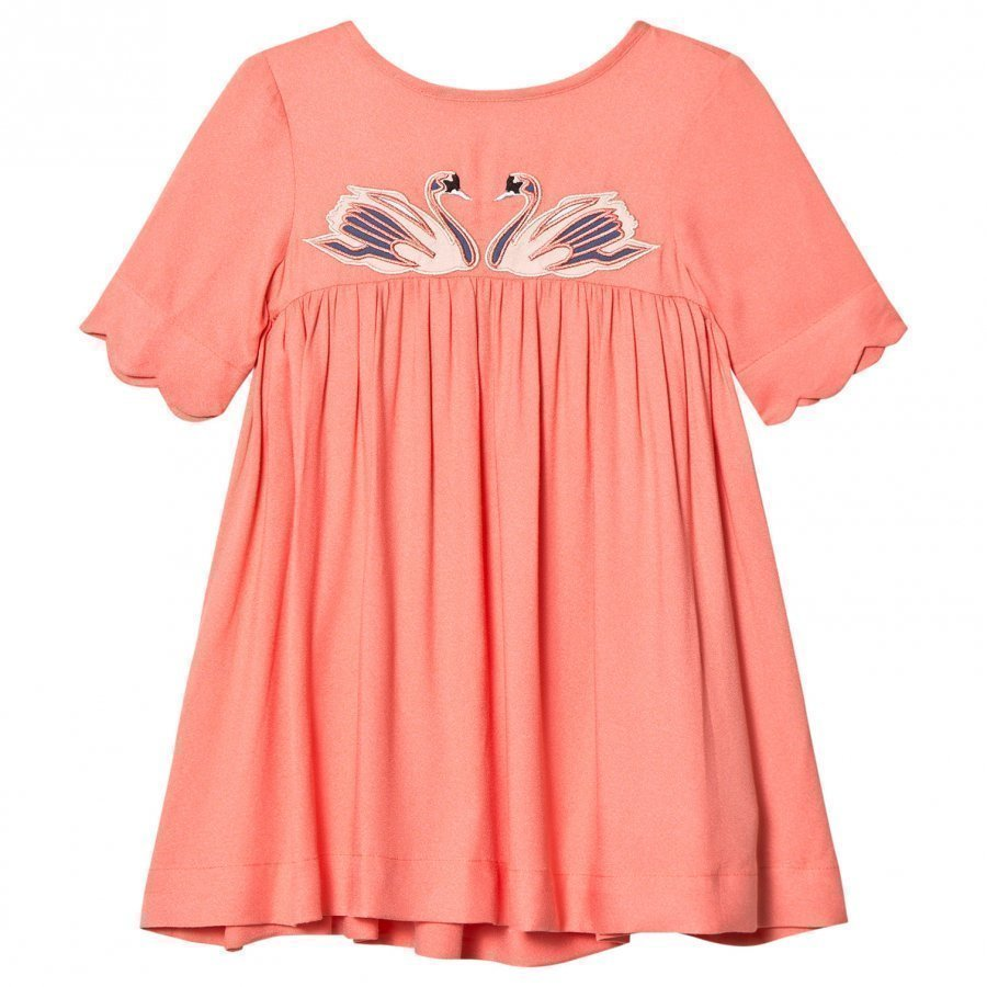 Stella Mccartney Kids Pink Leonilla Swan Dress Juhlamekko