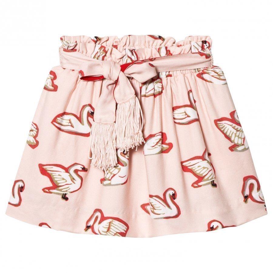Stella Mccartney Kids Pink Myrtle Swans Skirt Lyhyt Hame