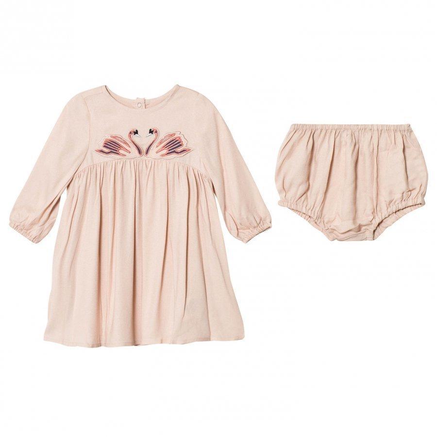 Stella Mccartney Kids Pink Swan Print Leonilla Dress Juhlamekko