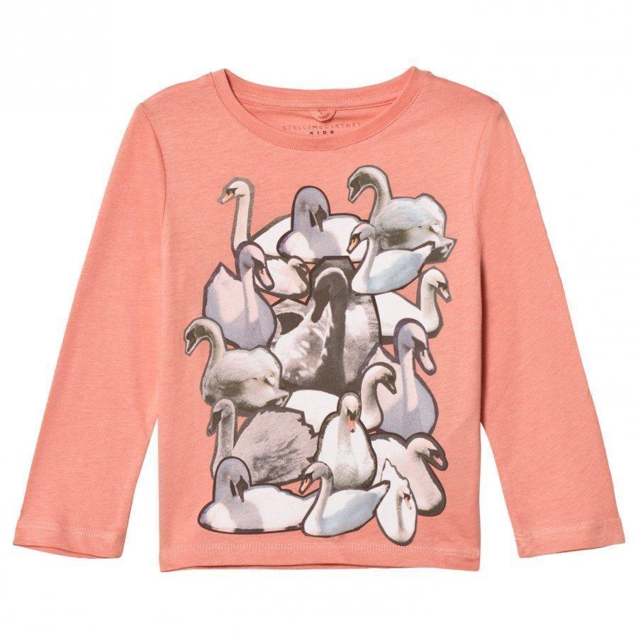 Stella Mccartney Kids Pink Swans Print Bella Tee T-Paita