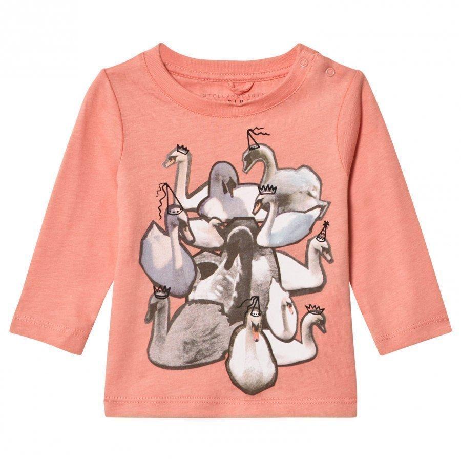 Stella Mccartney Kids Pink Swans Print Georgie Tee T-Paita