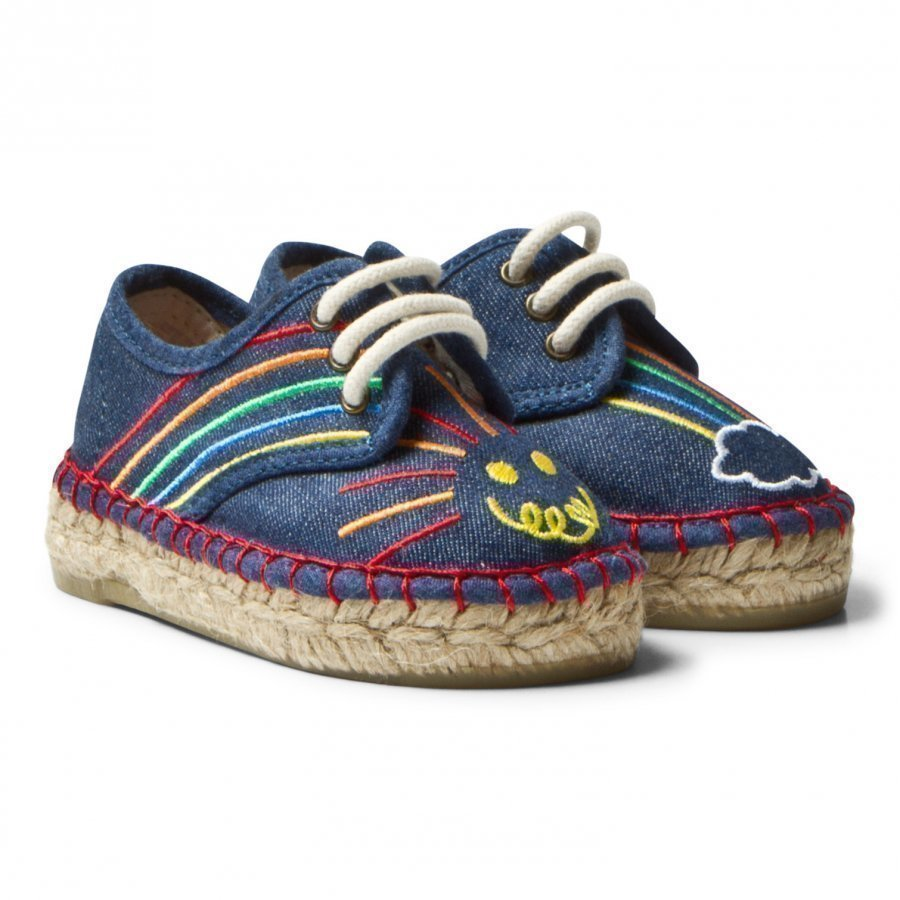 Stella Mccartney Kids Rae Denim Espadrilles Embroidered Rainbow Espadrillot