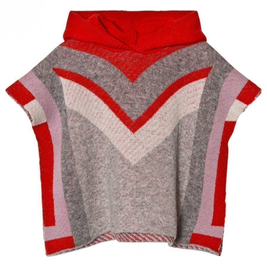 Stella Mccartney Kids Red And Grey Bianca Knit Cape With Hood Viitta