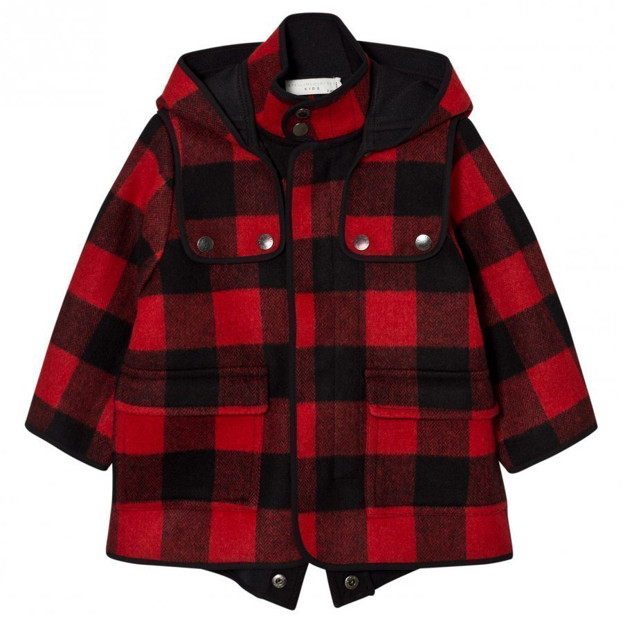 Stella Mccartney Kids Red Check Beet Hooded Coat Parkatakki