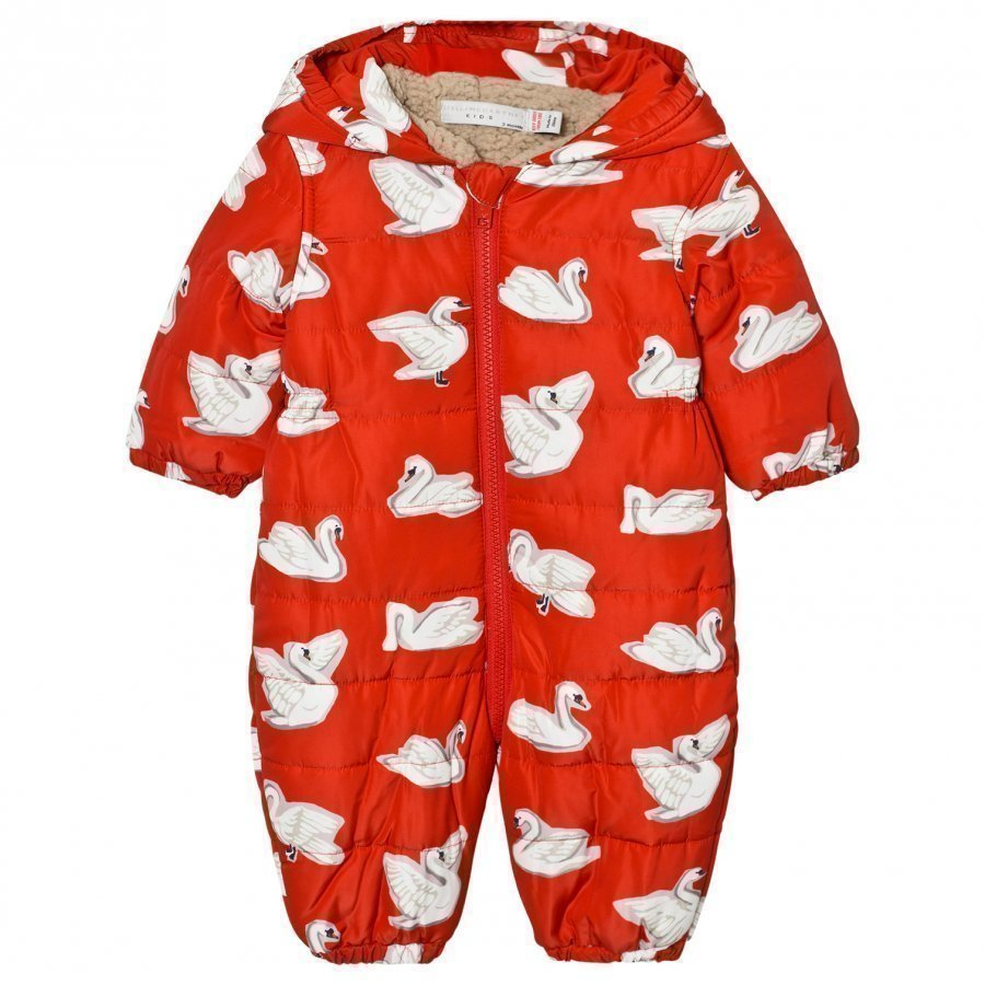Stella Mccartney Kids Red Swan Print Cymbals Snowsuit Talvihaalari