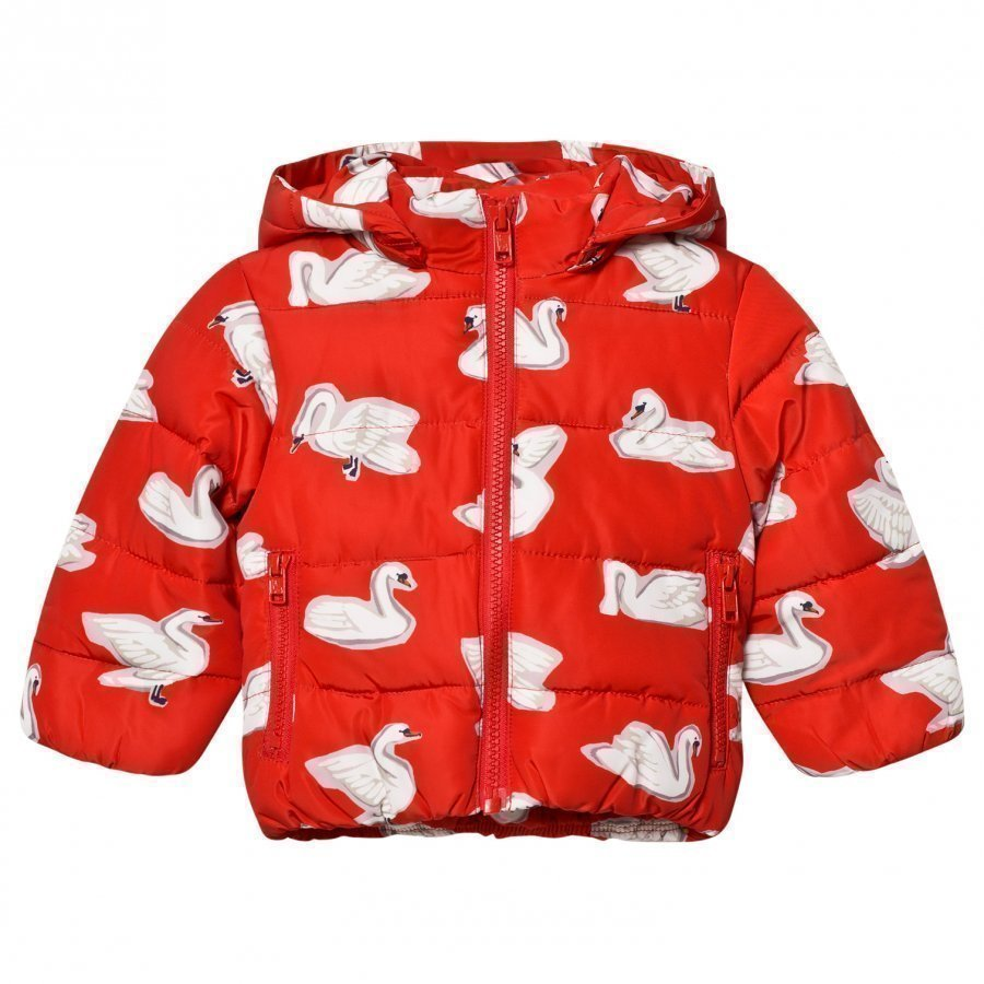 Stella Mccartney Kids Red Swan Print Hubert Puffer Coat Toppatakki