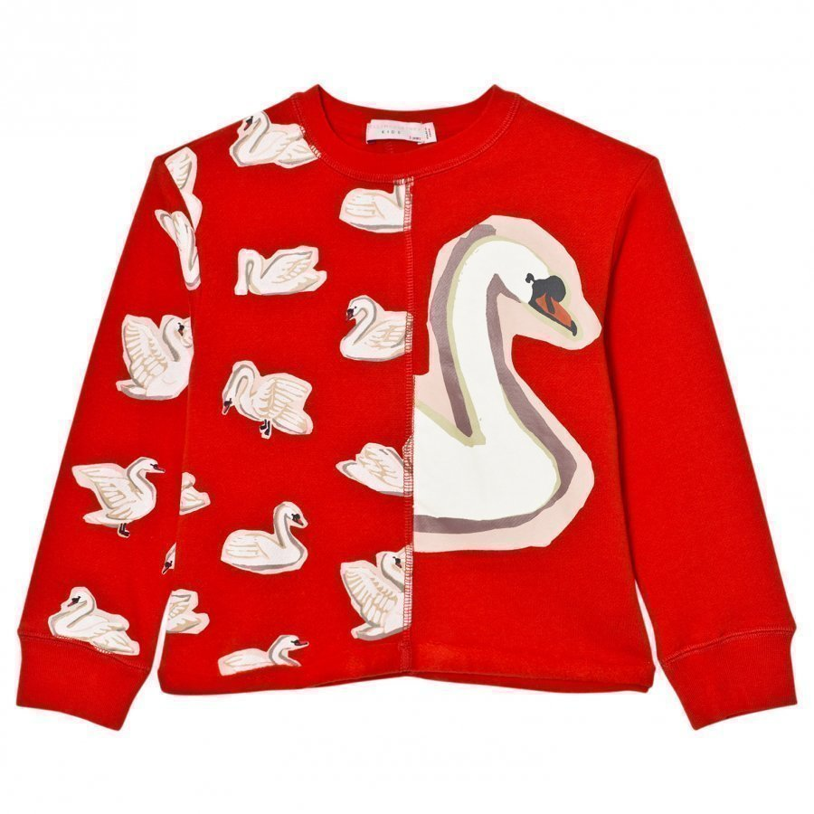 Stella Mccartney Kids Red Swan Print June Sweatshirt Oloasun Paita