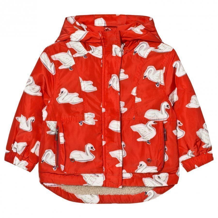 Stella Mccartney Kids Red Swan Print Rhonda Hooded Coat Toppatakki