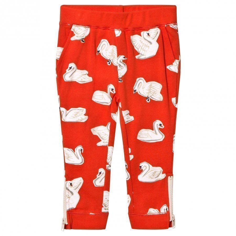 Stella Mccartney Kids Red Swans Print Track Pants Verryttelyhousut