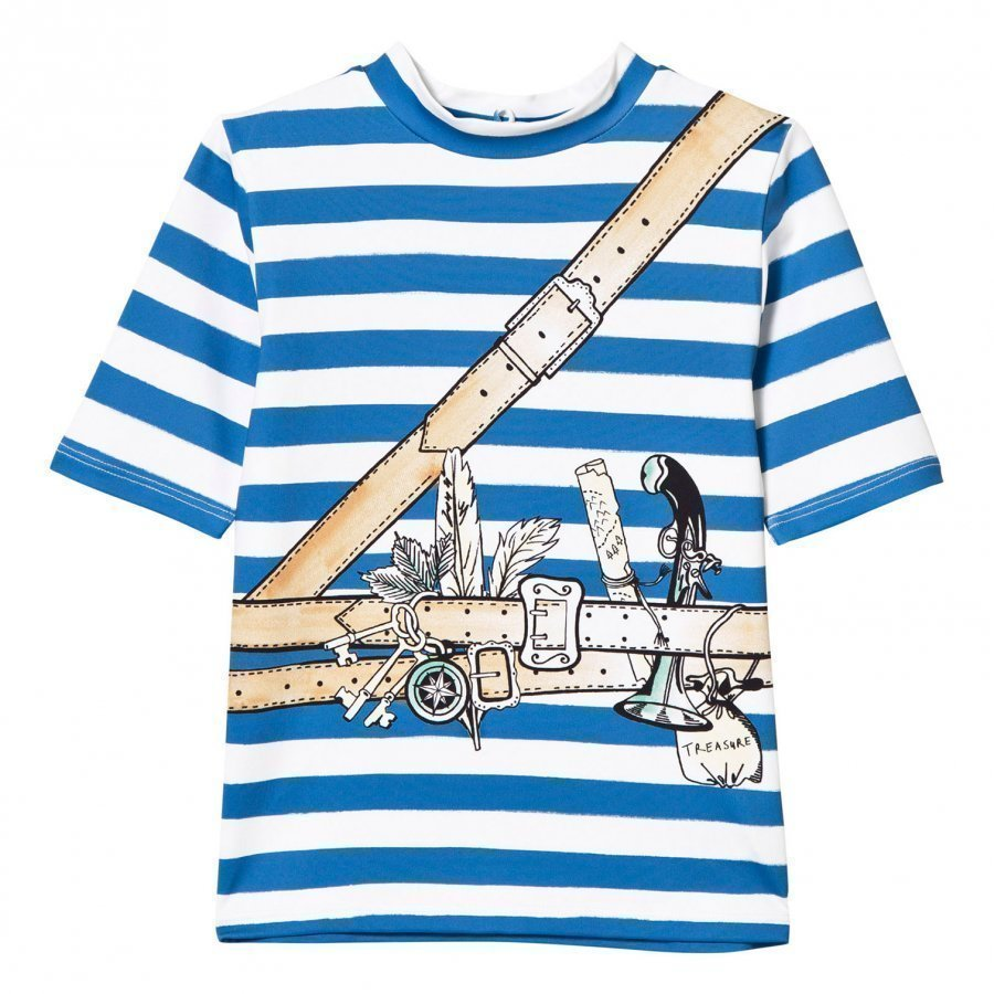Stella Mccartney Kids Splash Swim Blue Pirate Print Tee T-Paita