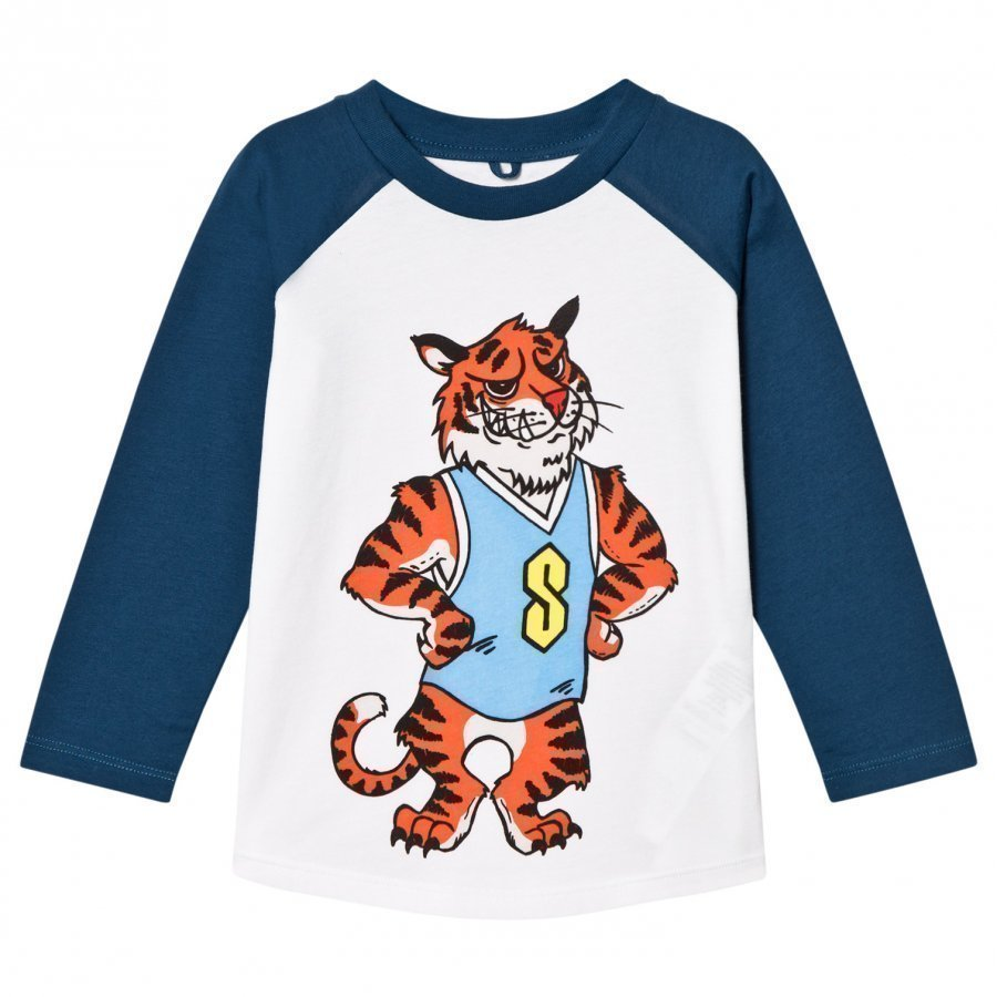 Stella Mccartney Kids Tiger Print Max Tee White And Blue T-Paita