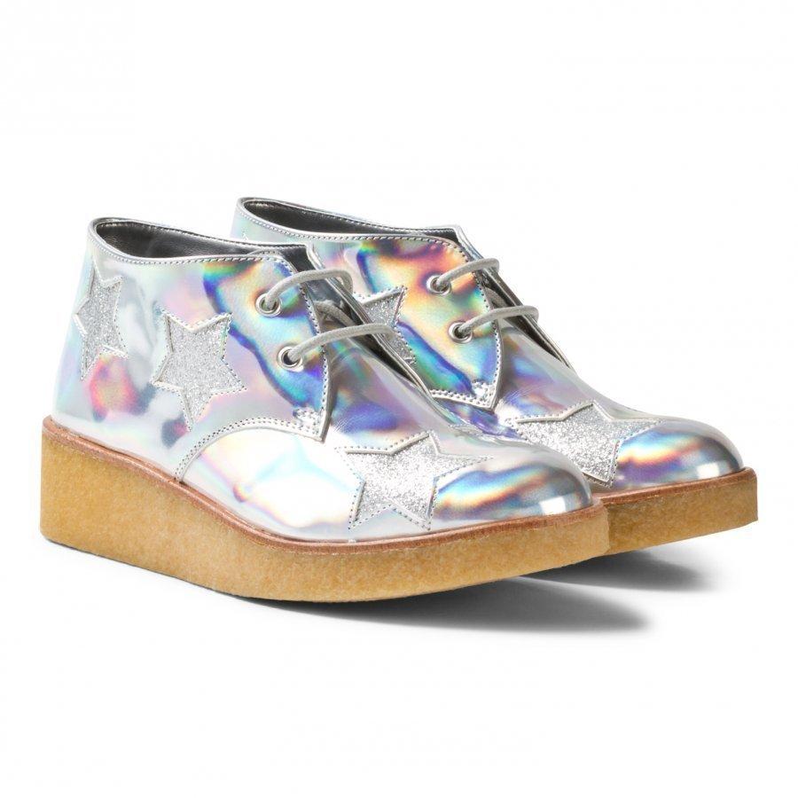 Stella Mccartney Kids Wendy Holographic Glitter Stars Wedge Boots Nilkkurit