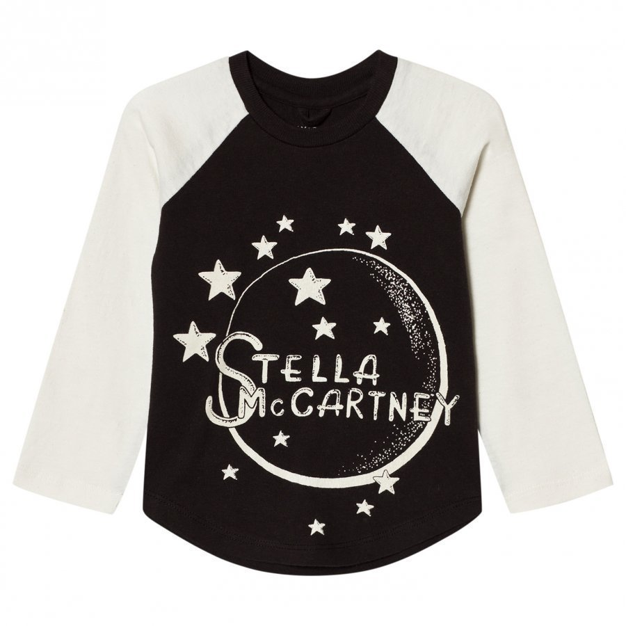 Stella Mccartney Kids White And Black Moon Nova Raglan Tee T-Paita