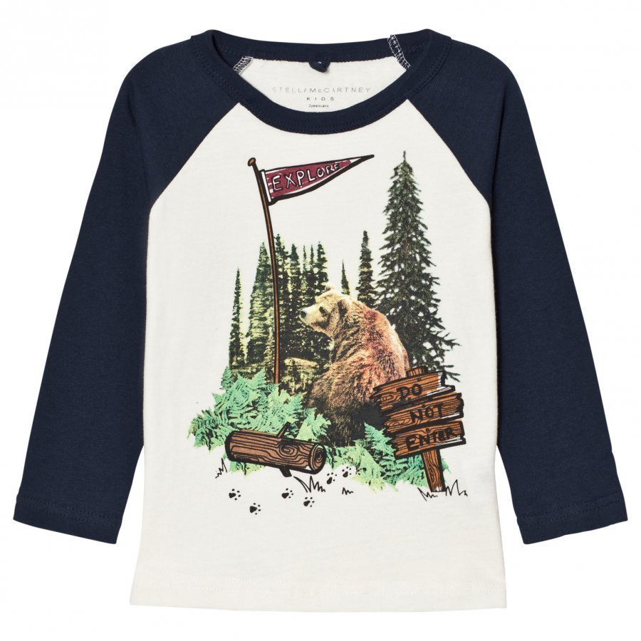 Stella Mccartney Kids White And Blue Bear Print Raglan Tee T-Paita