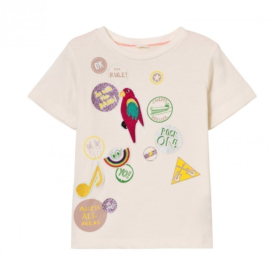 Stella Mccartney Kids White Badge Print Arlow Tee T-Paita