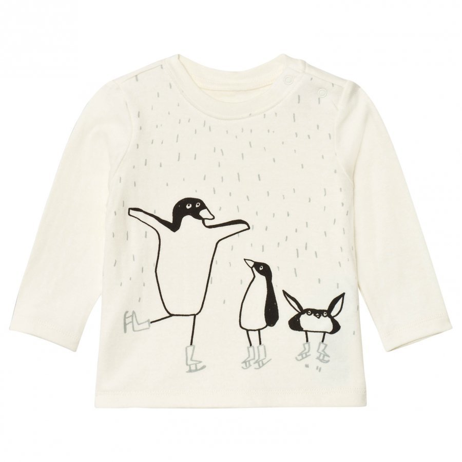 Stella Mccartney Kids White Dancing Penguin Print Georgie Tee T-Paita