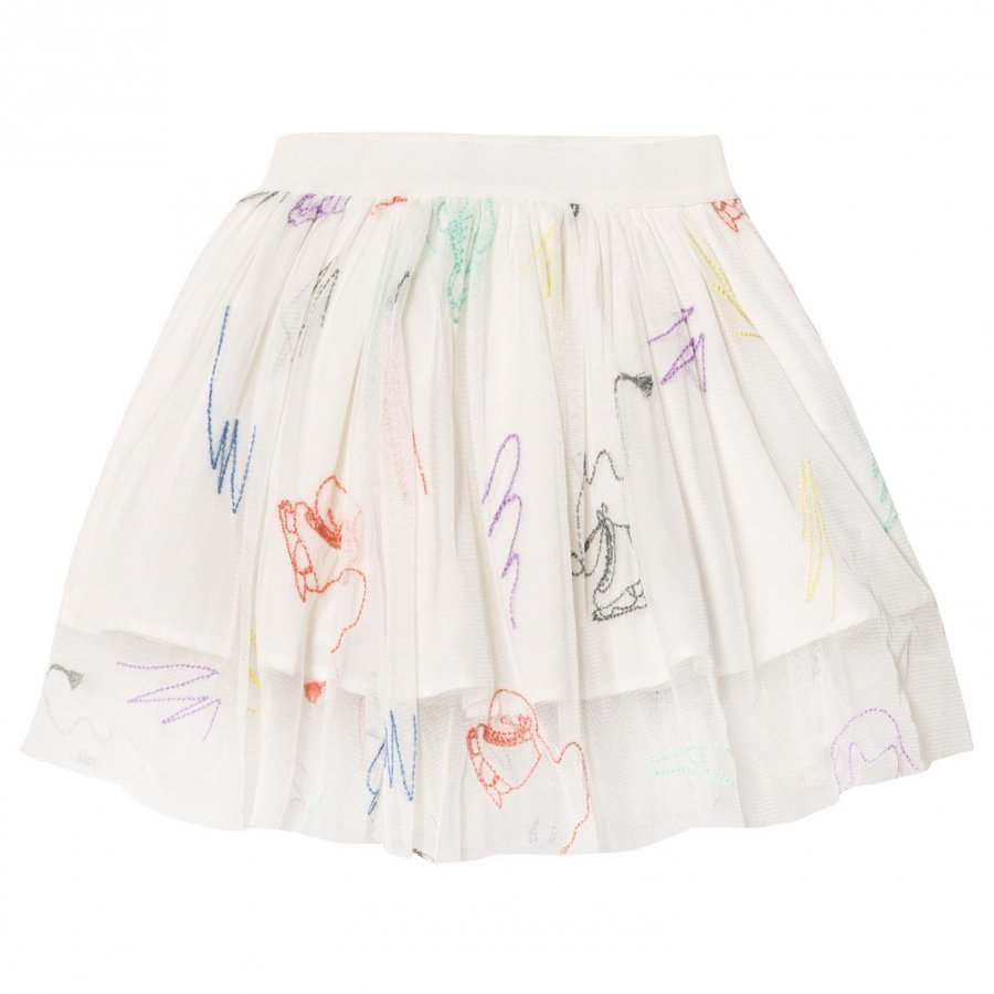 Stella Mccartney Kids White Embroidered Skates Darci Tulle Skirt Midihame