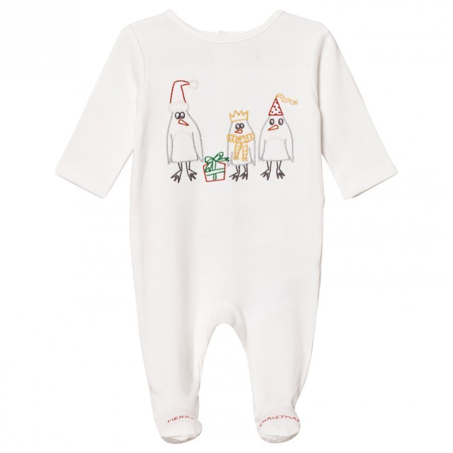 Stella Mccartney Kids White Footed Baby Body Christmas Embroidery Body