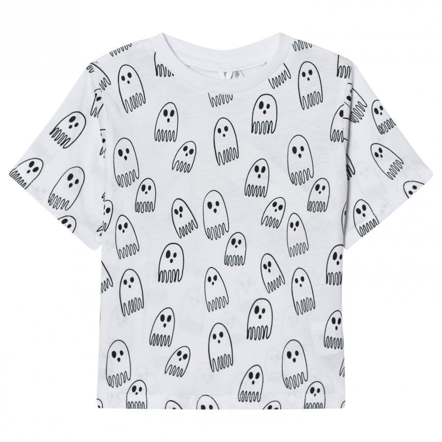 Stella Mccartney Kids White Ghost Print Tee T-Paita