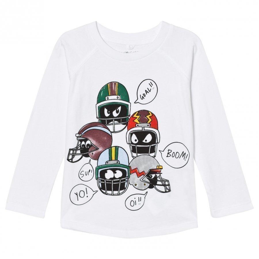 Stella Mccartney Kids White Helmet Print Max Tee T-Paita
