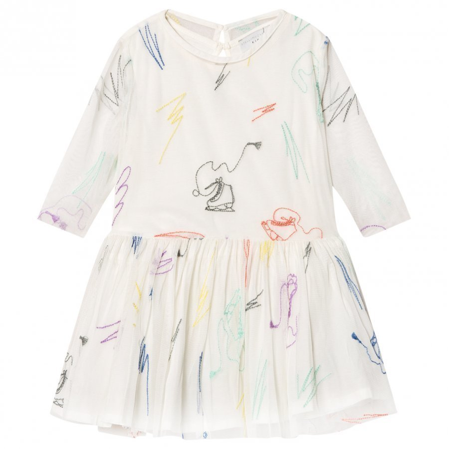 Stella Mccartney Kids White Luna Embroidered Skates Tulle Dress Juhlamekko