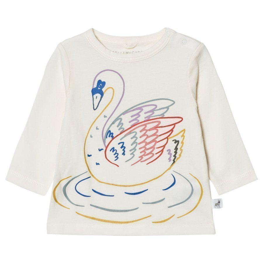 Stella Mccartney Kids White Multi Colour Swan Print Georgie Tee T-Paita