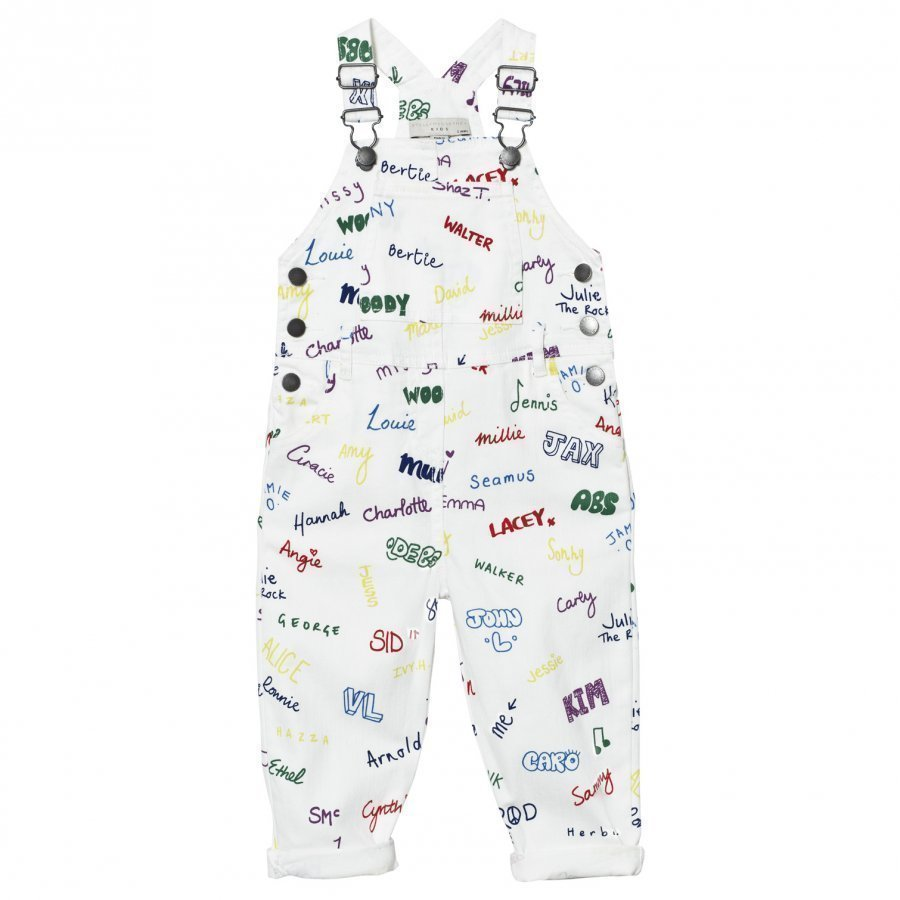 Stella Mccartney Kids White Overalls Name Print Lappuhaalari