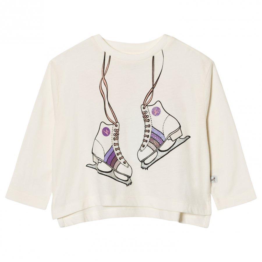 Stella Mccartney Kids White Skates Print Farah Tee T-Paita