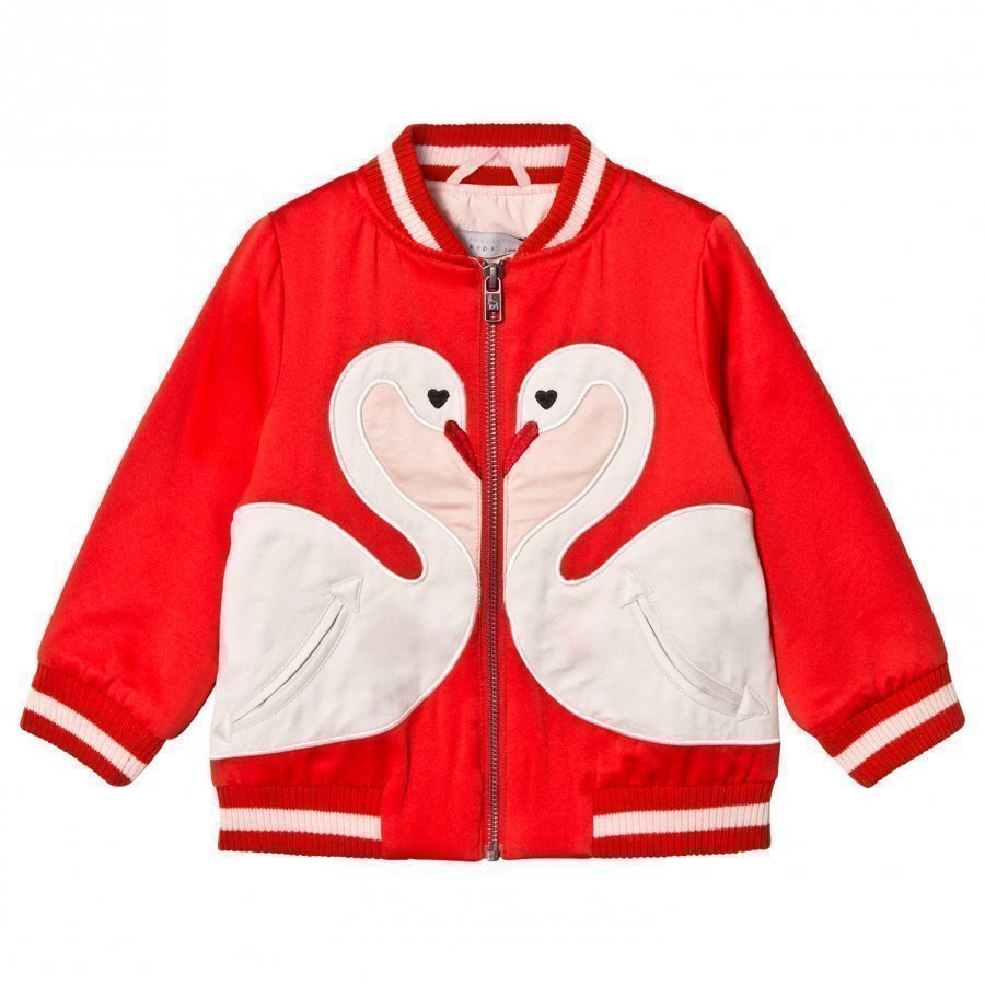 Stella Mccartney Kids Willow Swan Patch Bomber Jacket Robin Red Bomber Takki