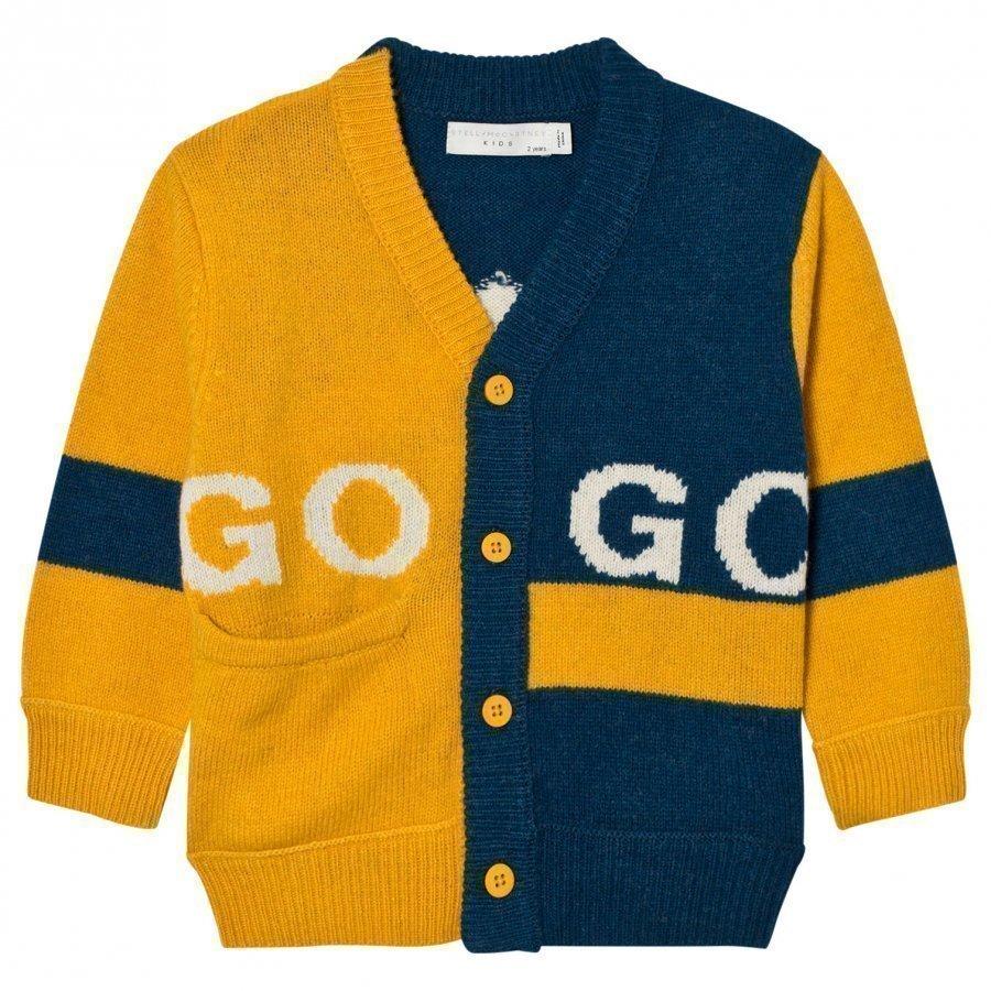 Stella Mccartney Kids Yellow And Blue Intarsia Eagle Cardigan Neuletakki