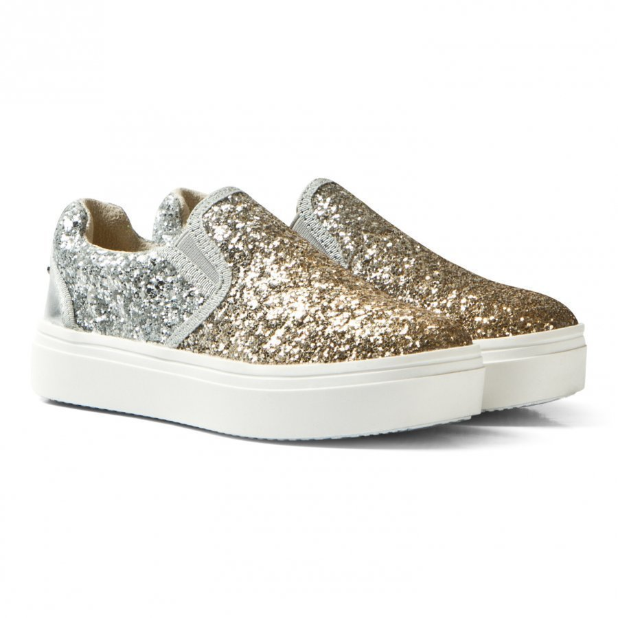 Stuart Weitzman Double Marcia Glitter Slip On Trainers Lenkkarit