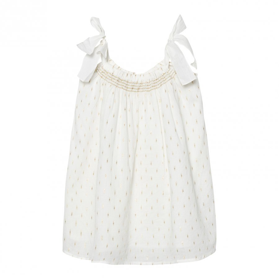 Sunuva White And Gold Dot Tie Dress Uv-Paita
