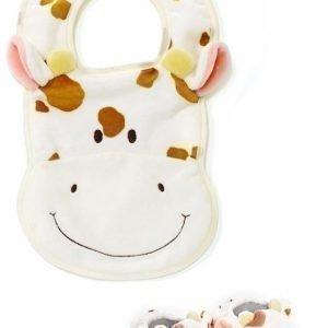 Teddykompaniet Diinglisar Vauvan tossut & ruokalappu Lehmä