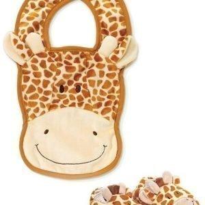 Teddykompaniet Diinglisar Wild Vauvan tossut & ruokalappu Kirahvi
