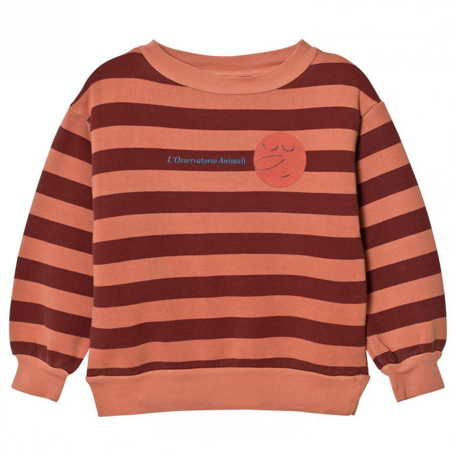 The Animals Observatory Bear Sweatshirt Deep Orange Stripes Oloasun Paita
