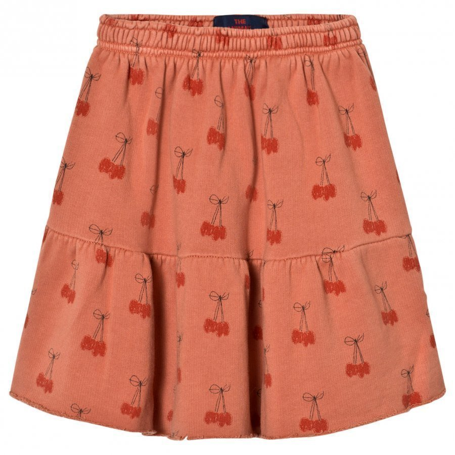 The Animals Observatory Cat Skirt Deep Orange Cherries Midihame