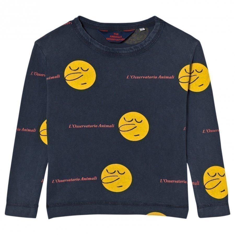 The Animals Observatory Dog T-Shirt Deep Blue Yellow Face Pitkähihainen T-Paita