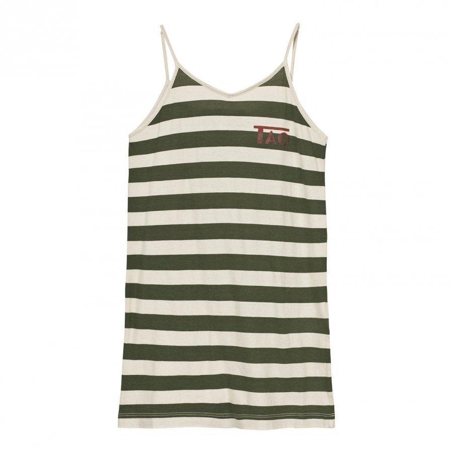 The Animals Observatory Gazel Dress Raw White Green Stripes Mekko